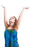 Woman with hands up Royalty Free Stock Image