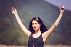 Woman hands up raised arms Stock Image