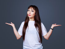 Woman with hands up Stock Image