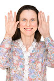 Woman With Hands Up Stock Photos