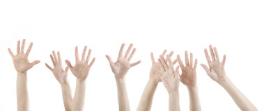 Woman hands up with white Royalty Free Stock Photo