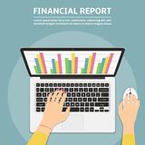 Woman hands using laptop with financial report graph on monitor. Flat design illustration Stock Image