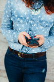 Woman hands using phone Royalty Free Stock Photo