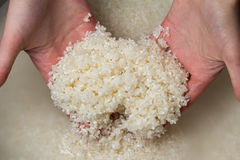 Woman Hands Washing Rice Royalty Free Stock Photos
