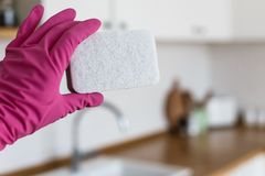 Woman hands wearing protective gloves and holding cleaning sponge on white kitchen background. Concept of clean kitchen royalty free stock images