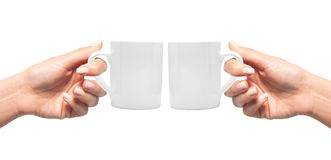 Woman hands with white cup of coffee isolated Royalty Free Stock Image