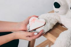 Woman hands and white heart gingerbread on paw of old bear toy. On wooden chair isolated on grey background stock image