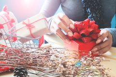 Woman Hands With Beautiful Red Gift Box, Christmas Holiday Concept Royalty Free Stock Photography