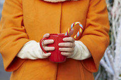 Woman hands in woolen mittens with mug and Christmas candy cane Royalty Free Stock Photos