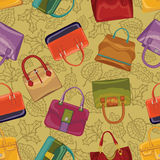 Woman handsbag seamless pattern.Autumn Stock Photos