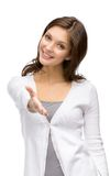 Woman handshake gesturing Royalty Free Stock Image