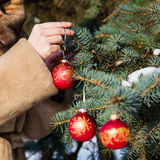 Woman hanging a christmas decorations on fir closeup. Woman dressed in a fur coat hanging a christmas decorations on fir closeup. New year greeting card concept Stock Photo