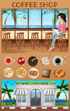 Woman hanging out in the coffee shop stock illustration
