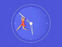 Woman hangs on the big arrow of the life watch Royalty Free Stock Image