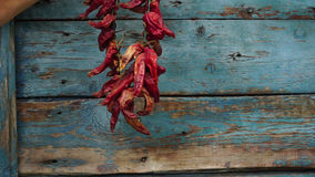 A Woman hangs dried red pepper on a wooden wall stock video footage