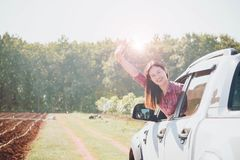 A woman happiness royalty free stock photo