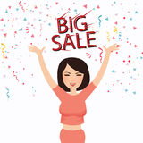 Woman happy big sale text face smile celebrate shopper. Vector Royalty Free Stock Photos