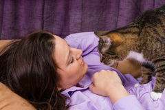 Woman is happy with cat Royalty Free Stock Photo