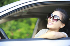 Woman happy driving Royalty Free Stock Image