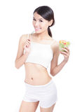 Woman happy eat salad Royalty Free Stock Photography