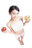 Woman happy eat salad full length Royalty Free Stock Images