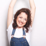 woman happy ecstatic celebrating being a winner. Royalty Free Stock Photography