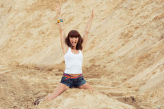 Woman with happy emotion on beach Stock Images
