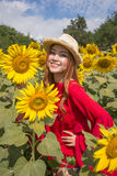 Woman happy and enjoy in sunflower field Stock Photography
