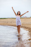 Woman happy excited smile on beach Royalty Free Stock Image