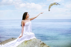 Woman happy excited smile on beach Royalty Free Stock Images