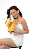 Woman happy with gift box Royalty Free Stock Images