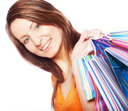 Woman happy holding shopping bags. Royalty Free Stock Photography