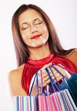 Woman happy holding shopping bags. Stock Photography