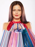 Woman happy holding shopping bags. Stock Image