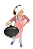 Woman happy housewife isolated Royalty Free Stock Image