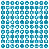 100 woman happy icons sapphirine violet. 100 woman happy icons set in sapphirine hexagon isolated vector illustration Stock Images