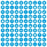 100 woman happy icons set blue. 100 woman happy icons set in blue hexagon isolated vector illustration royalty free illustration