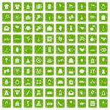 100 woman happy icons set grunge green. 100 woman happy icons set in grunge style green color isolated on white background vector illustration Stock Photo