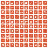 100 woman happy icons set grunge orange. 100 woman happy icons set in grunge style orange color isolated on white background vector illustration Royalty Free Stock Photo