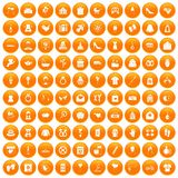100 woman happy icons set orange. 100 woman happy icons set in orange circle isolated vector illustration stock illustration