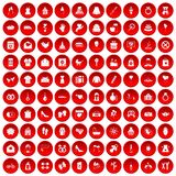 100 woman happy icons set red. 100 woman happy icons set in red circle isolated on white vectr illustration Stock Illustration