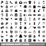 100 woman happy icons set, simple style Stock Images