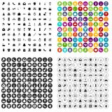 100 woman happy icons set vector variant. 100 woman happy icons set vector in 4 variant for any web design isolated on white Stock Photos