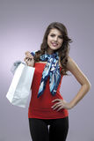 Woman happy portrait shopping bag Royalty Free Stock Images
