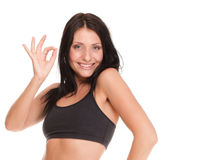 Woman happy showing ok sign isolated Stock Image