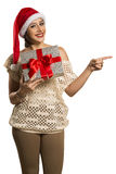 Woman happy smile point finger showing side empty copy space, yo Royalty Free Stock Image