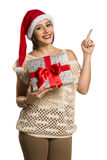 Woman happy smile point finger showing side empty copy space, yo Royalty Free Stock Photography