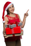 Woman happy smile point finger showing side empty copy space, yo Stock Photography
