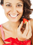 Woman happy strawberry Stock Photography