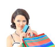 Woman happy take credit card Stock Photos